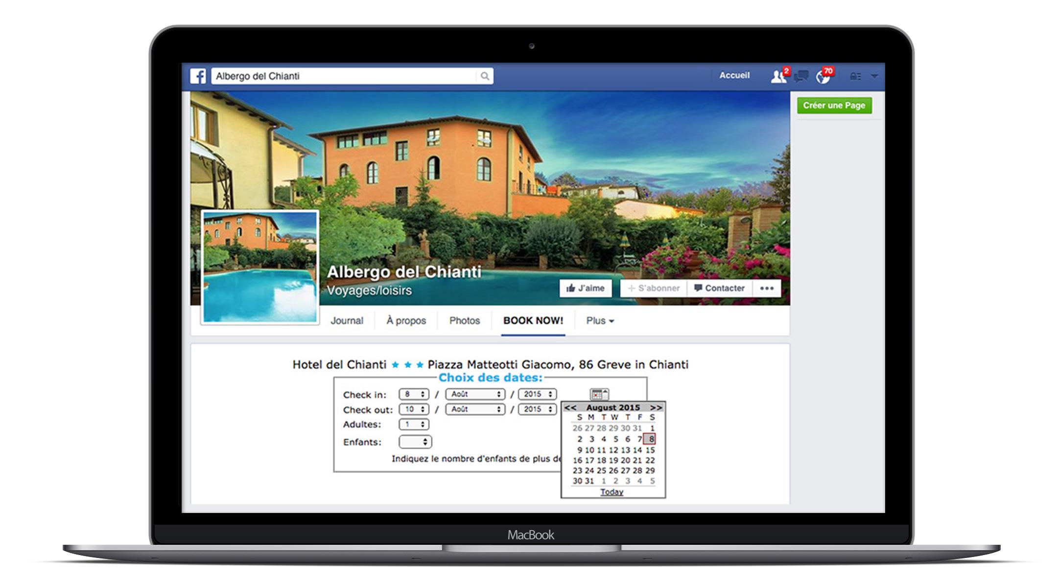 Moteur de réservation hotel sur Facebook